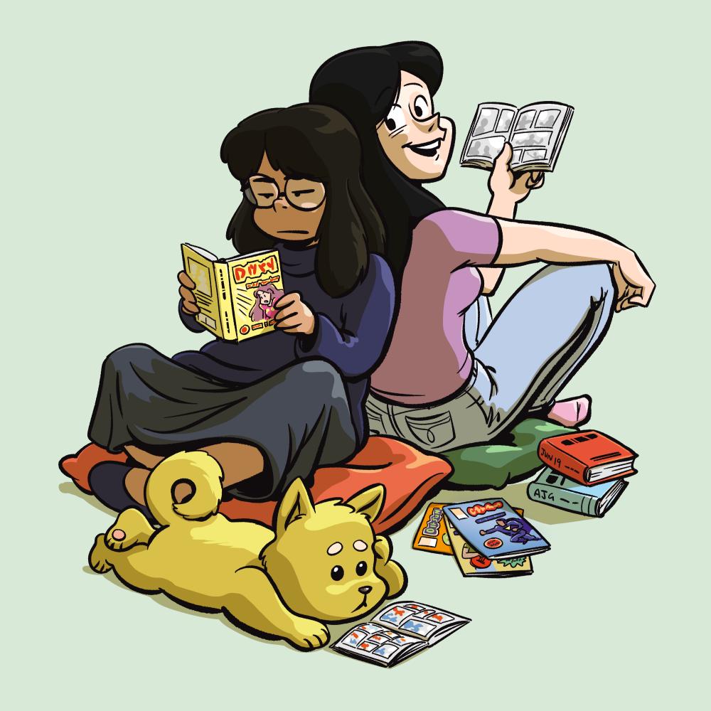 Sara and Abby reading comics